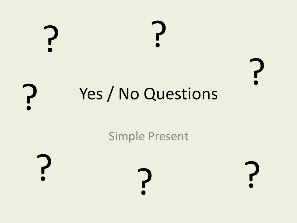 Yes / No Questions Simple Present