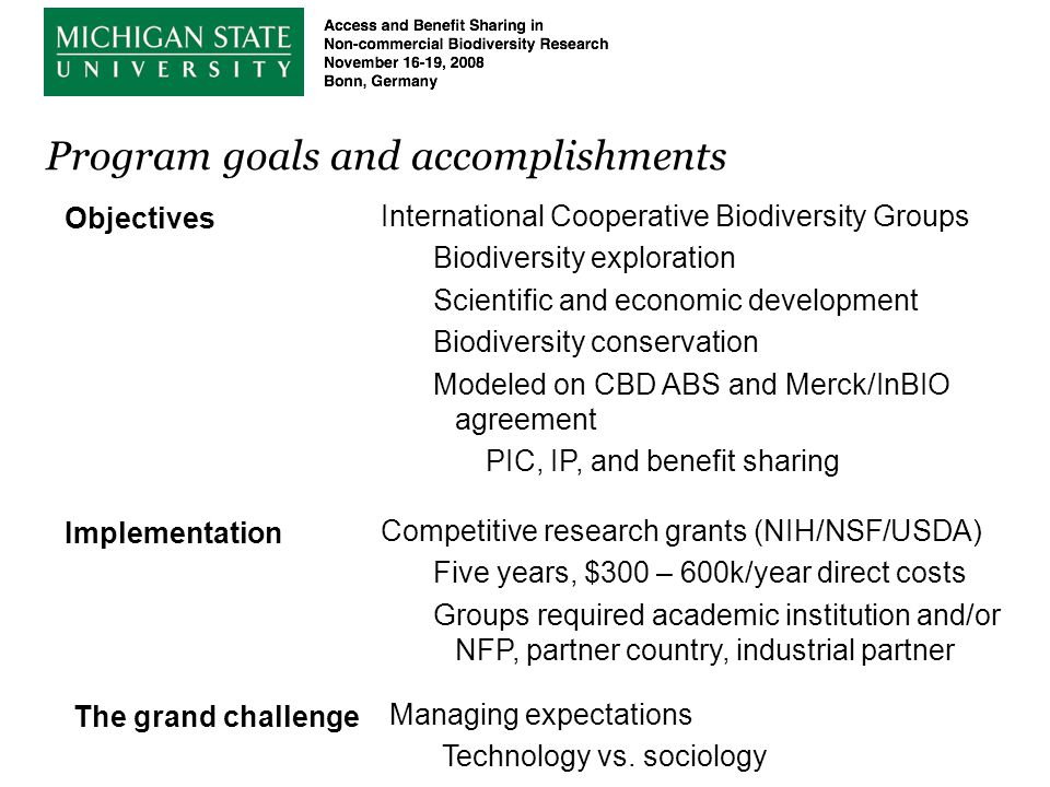 Program goals and accomplishments