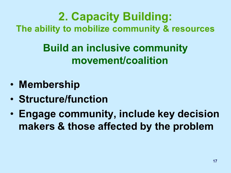 2. Capacity Building: The ability to mobilize community & resources