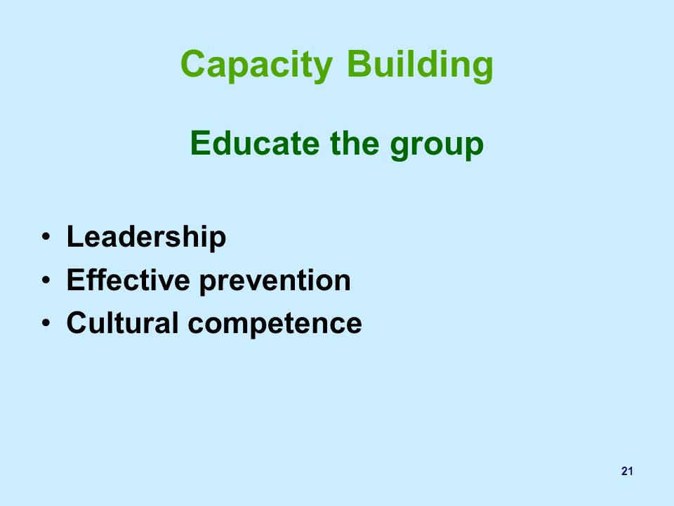 Capacity Building Educate the group Leadership Effective prevention