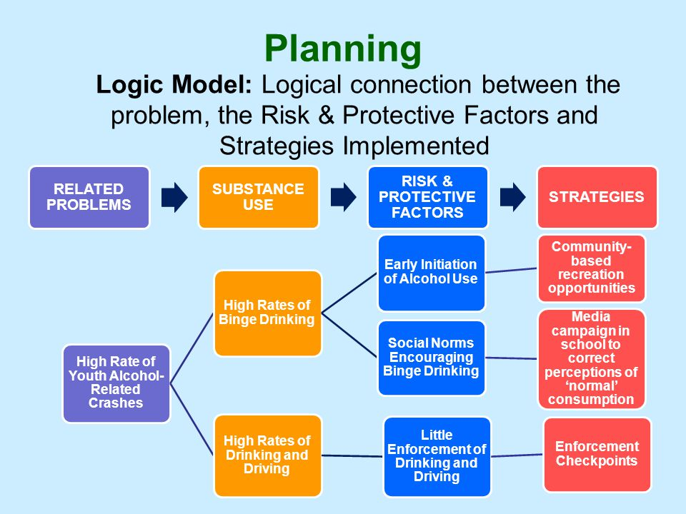 Planning Logic Model: Logical connection between the problem, the Risk & Protective Factors and Strategies Implemented.