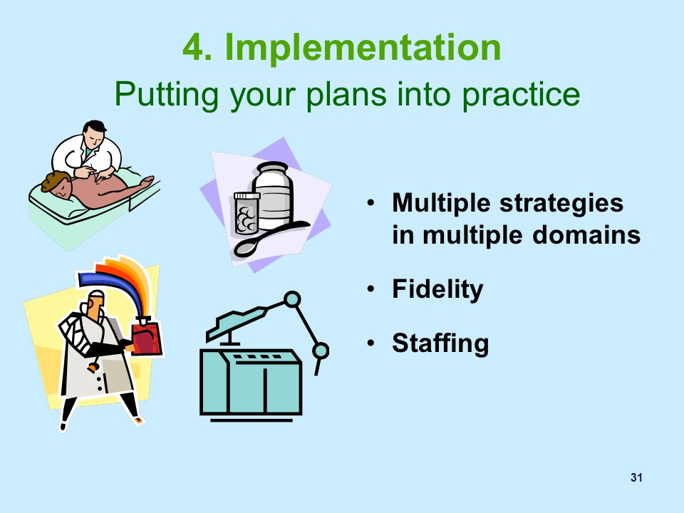 4. Implementation Putting your plans into practice