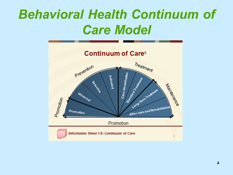 the continuum of care in mental health essay As america's population ages, the need for mental and behavioral health  services  of settings reflecting a continuum of care that at its best is  interdisciplinary.