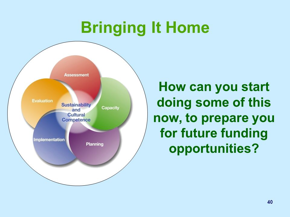 Bringing It Home How can you start doing some of this now, to prepare you for future funding opportunities