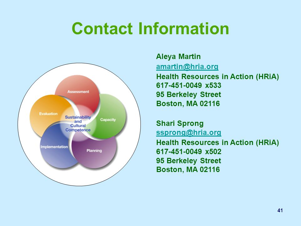 Contact Information Aleya Martin. amartin@hria.org. Health Resources in Action (HRiA) 617-451-0049 x533.