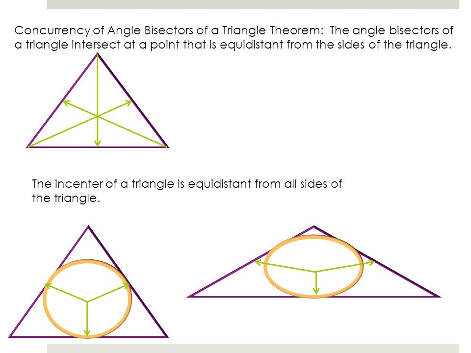 Concurrency of Angle Bisectors of a Triangle Theorem: The angle bisectors of a triangle intersect at a point that is equidistant from the sides of the triangle.