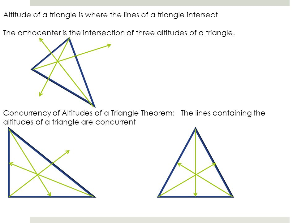 Altitude of a triangle is where the lines of a triangle intersect
