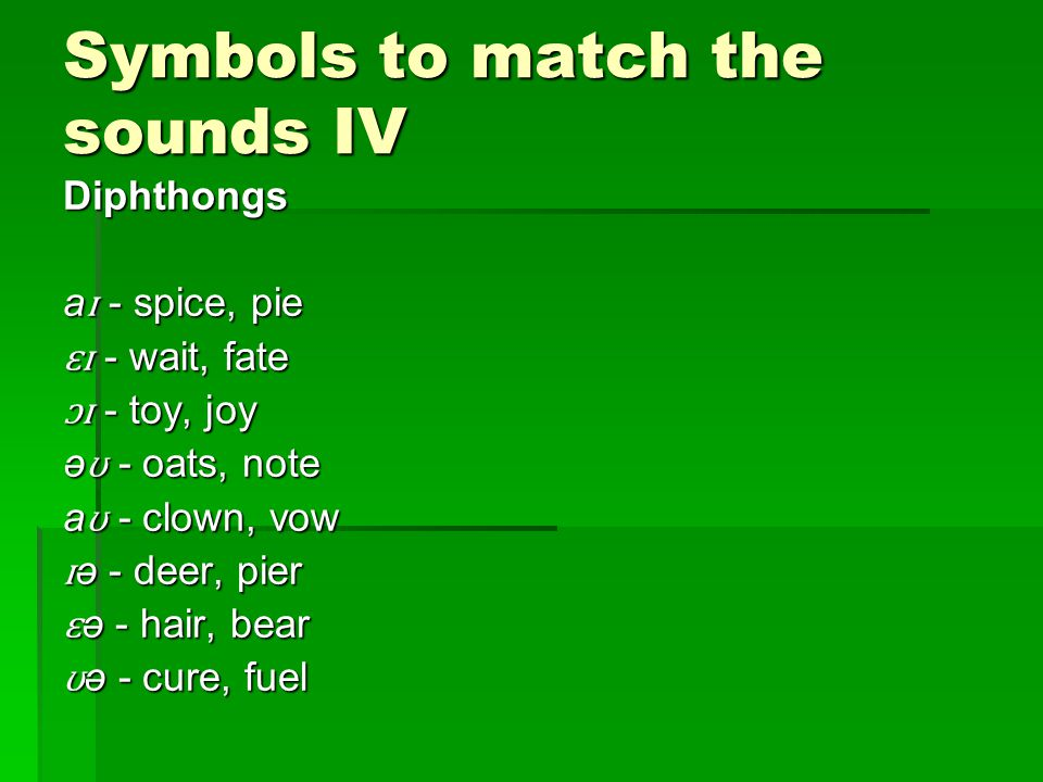 Symbols to match the sounds IV