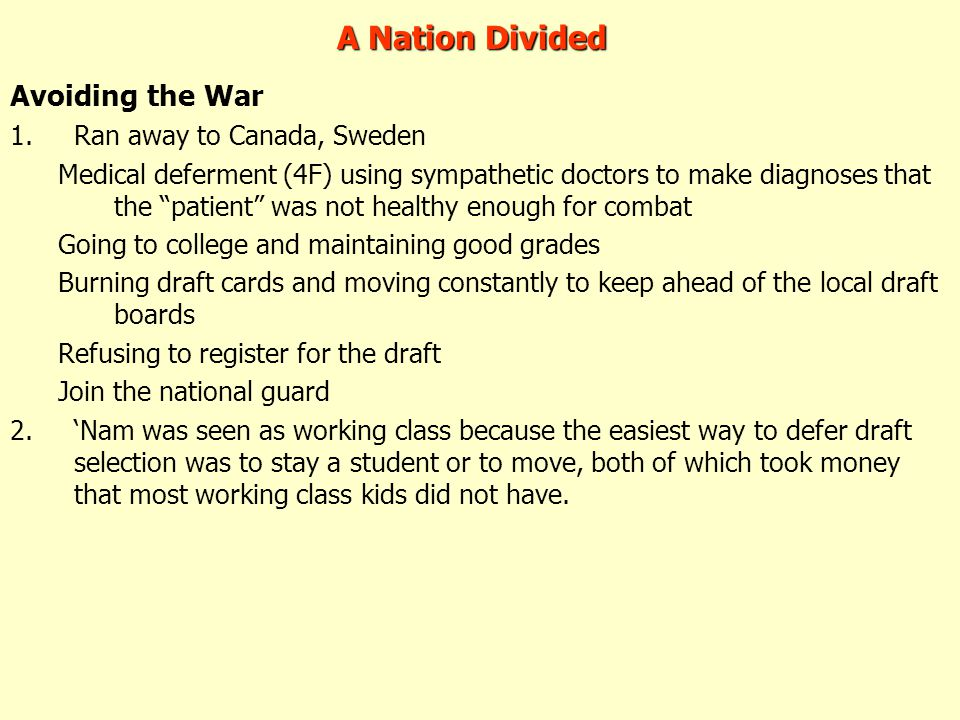 A Nation Divided Avoiding the War Ran away to Canada, Sweden