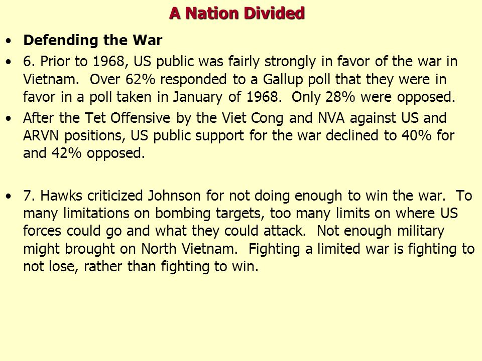 A Nation Divided Defending the War