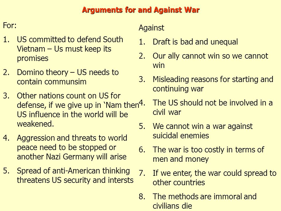 Arguments for and Against War