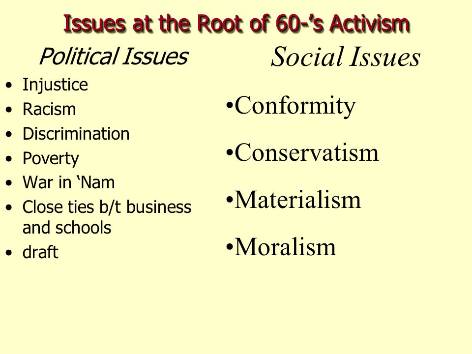 Issues at the Root of 60-'s Activism