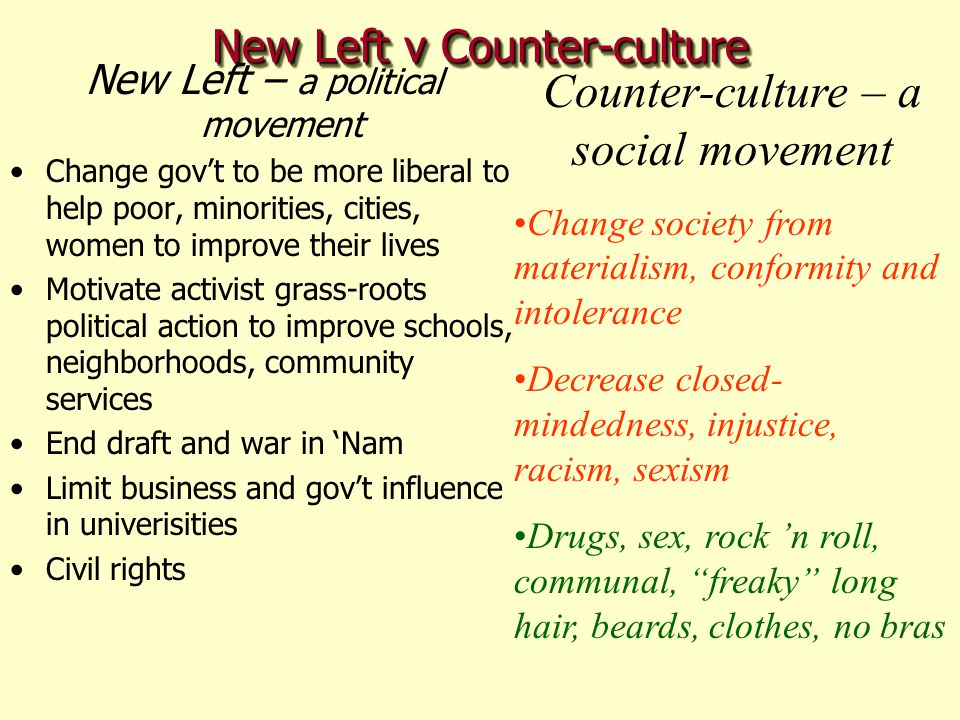 New Left v Counter-culture
