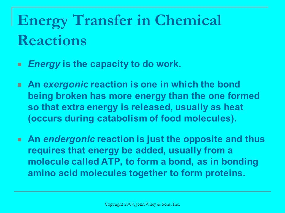 Energy Transfer in Chemical Reactions
