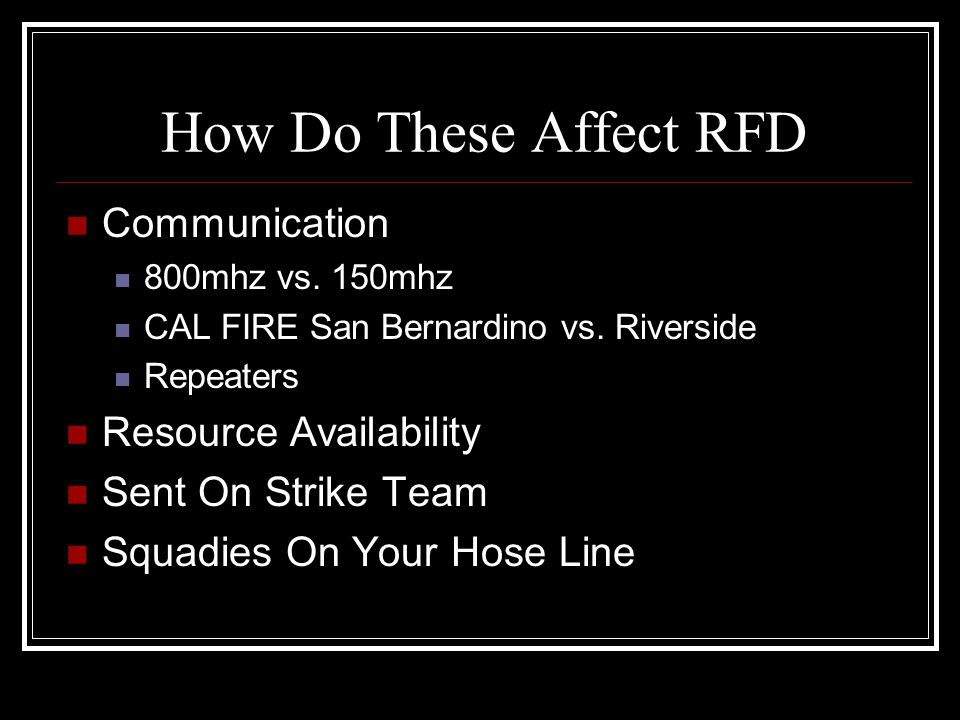 How Do These Affect RFD Communication Resource Availability