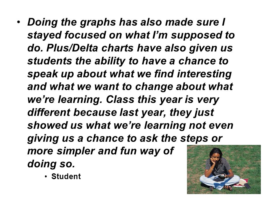 Doing the graphs has also made sure I stayed focused on what I'm supposed to do. Plus/Delta charts have also given us students the ability to have a chance to speak up about what we find interesting and what we want to change about what we're learning. Class this year is very different because last year, they just showed us what we're learning not even giving us a chance to ask the steps or more simpler and fun way of doing so.