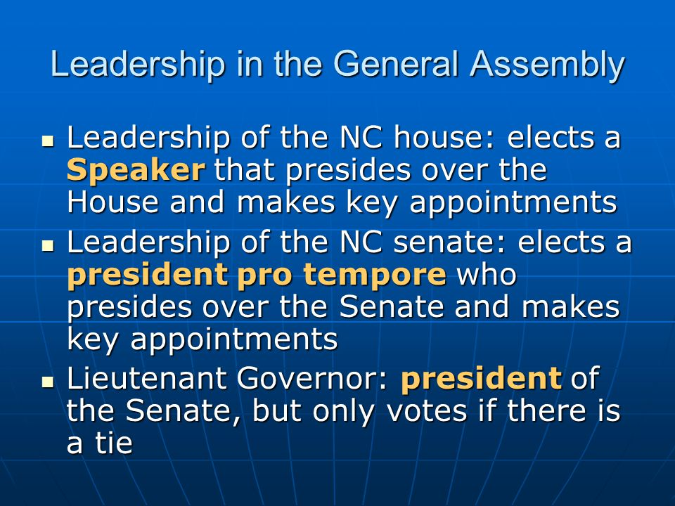 Leadership in the General Assembly