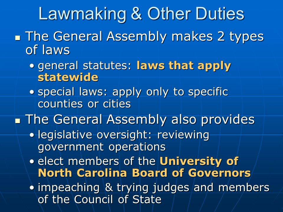 Lawmaking & Other Duties