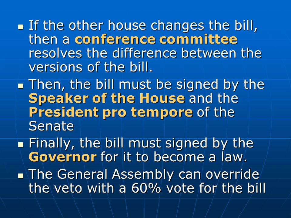 If the other house changes the bill, then a conference committee resolves the difference between the versions of the bill.