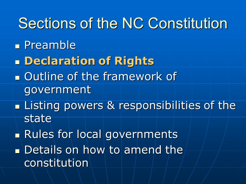 Sections of the NC Constitution