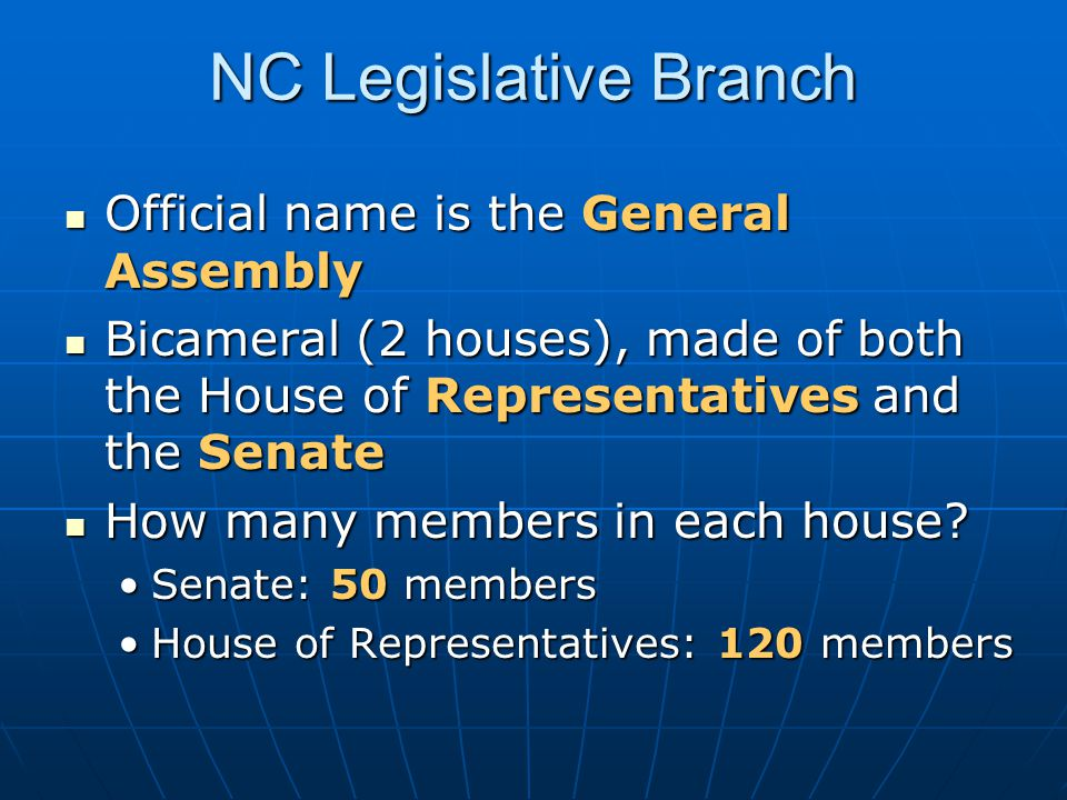 NC Legislative Branch Official name is the General Assembly