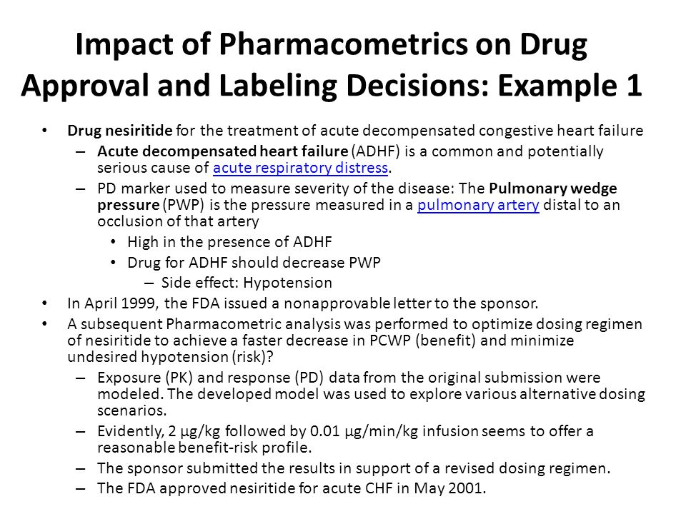 Impact of Pharmacometrics on Drug Approval and Labeling Decisions: Example 1