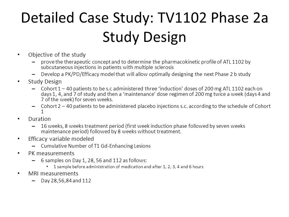 Detailed Case Study: TV1102 Phase 2a Study Design