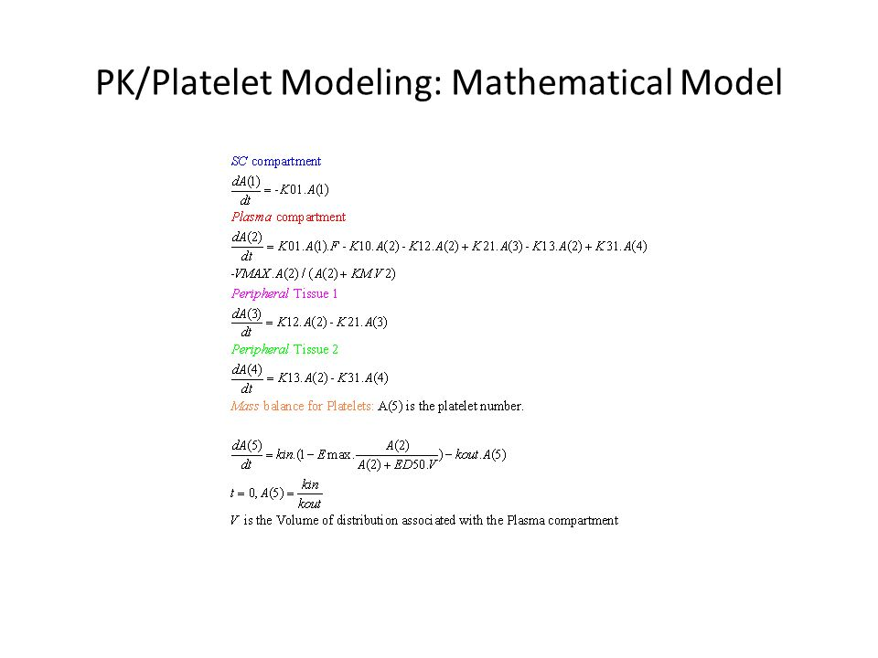 PK/Platelet Modeling: Mathematical Model