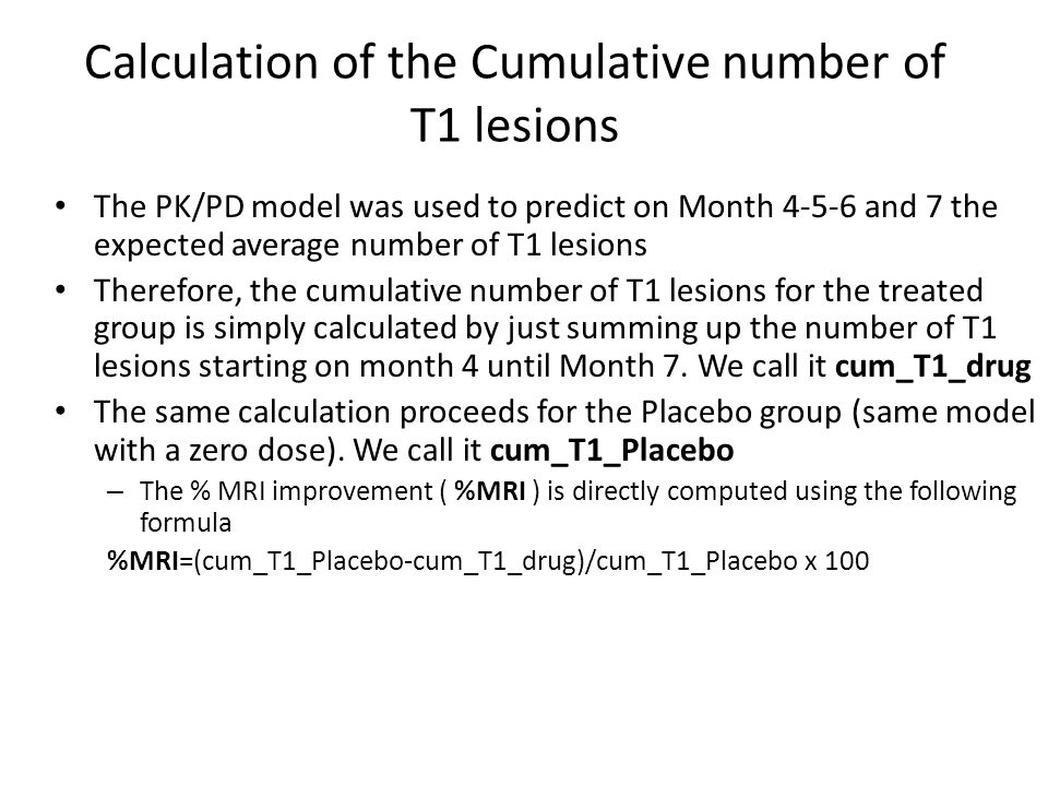 Calculation of the Cumulative number of T1 lesions