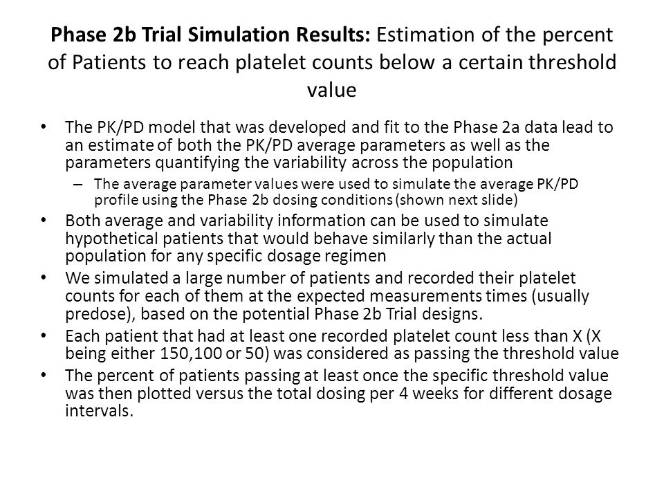 Phase 2b Trial Simulation Results: Estimation of the percent of Patients to reach platelet counts below a certain threshold value