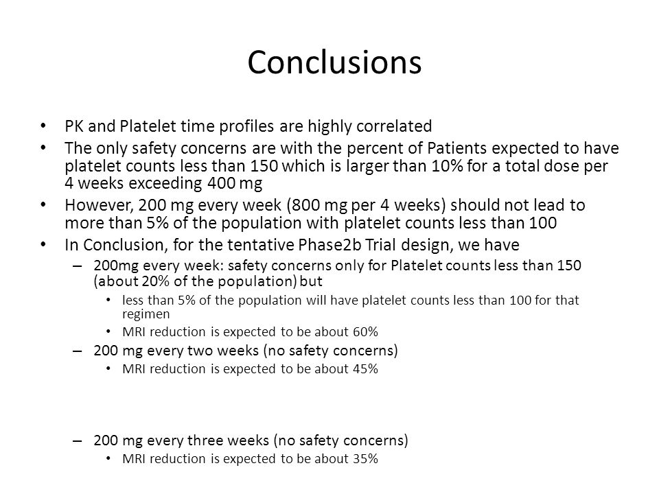 Conclusions PK and Platelet time profiles are highly correlated