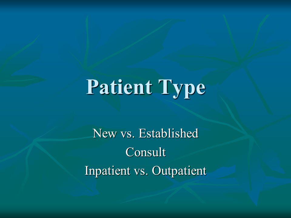 New vs. Established Consult Inpatient vs. Outpatient