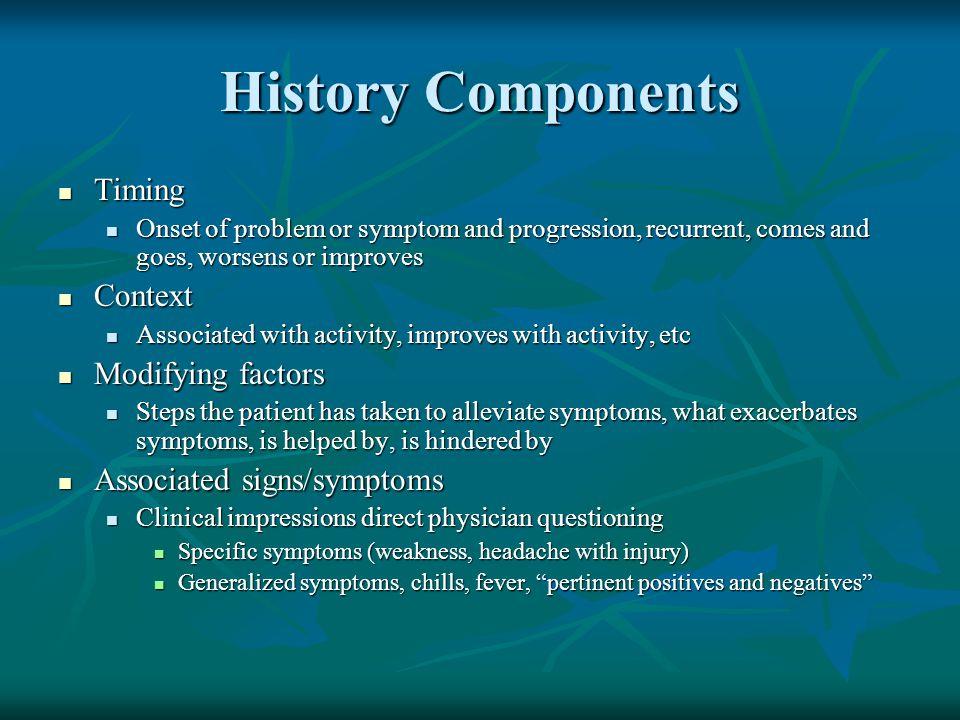 History Components Timing Context Modifying factors