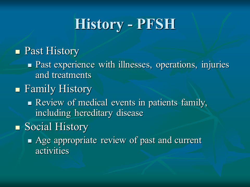 History - PFSH Past History Family History Social History