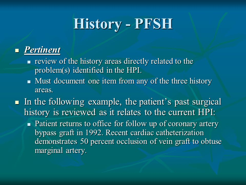 History - PFSH Pertinent