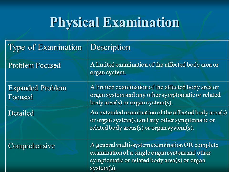 Physical Examination Type of Examination Description Problem Focused