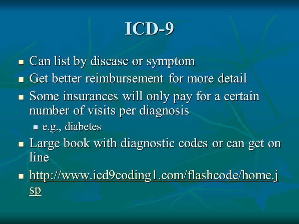 ICD-9 Can list by disease or symptom