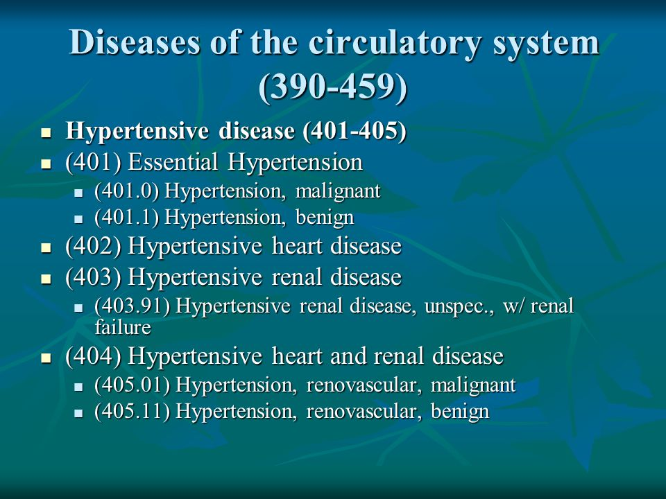 Diseases of the circulatory system (390-459)