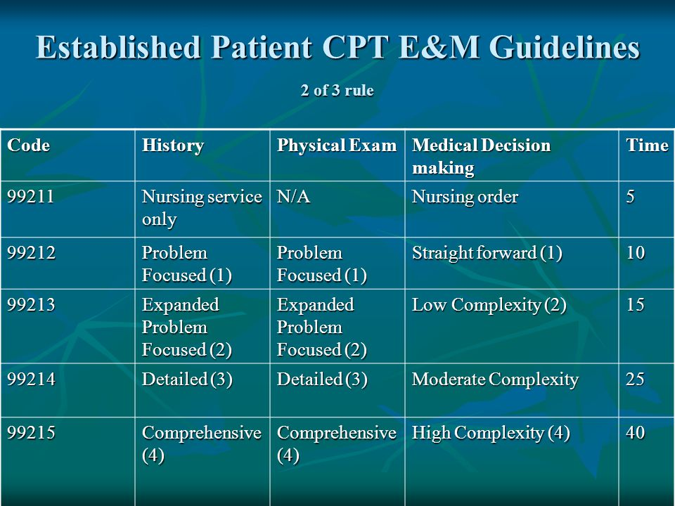 Established Patient CPT E&M Guidelines 2 of 3 rule