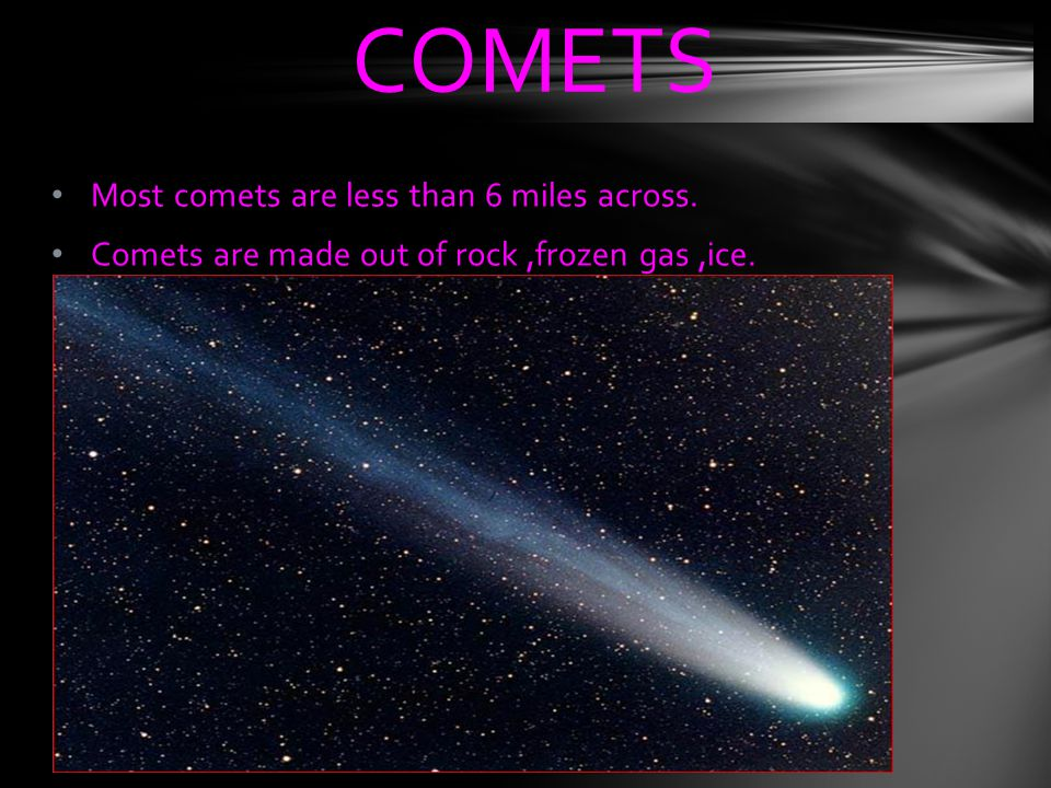 COMETS Most comets are less than 6 miles across.