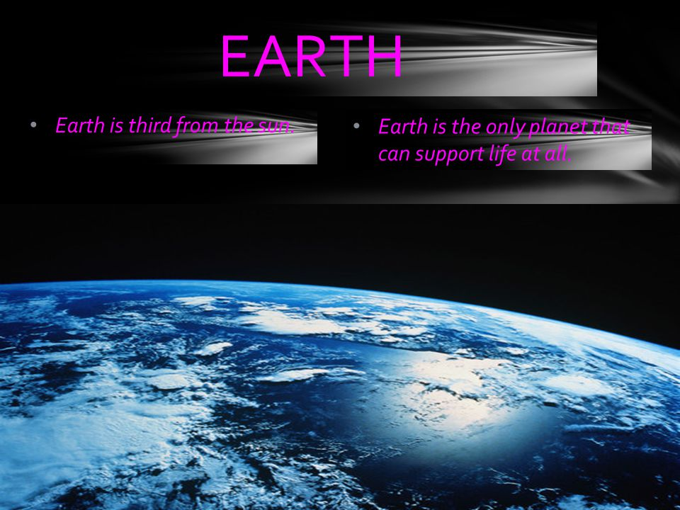 EARTH Earth is third from the sun.