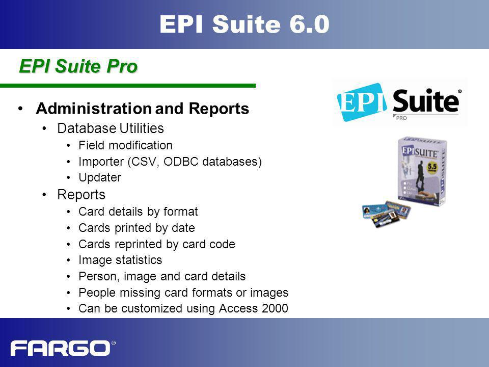 EPI Suite Pro Administration and Reports Database Utilities Reports