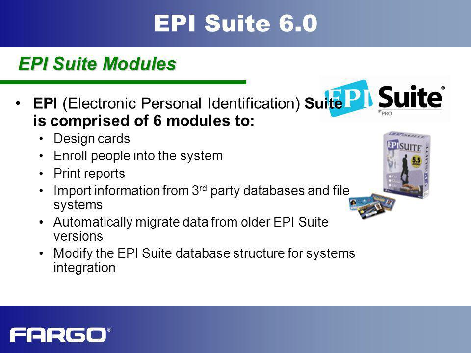 EPI Suite Modules EPI (Electronic Personal Identification) Suite is comprised of 6 modules to: Design cards.