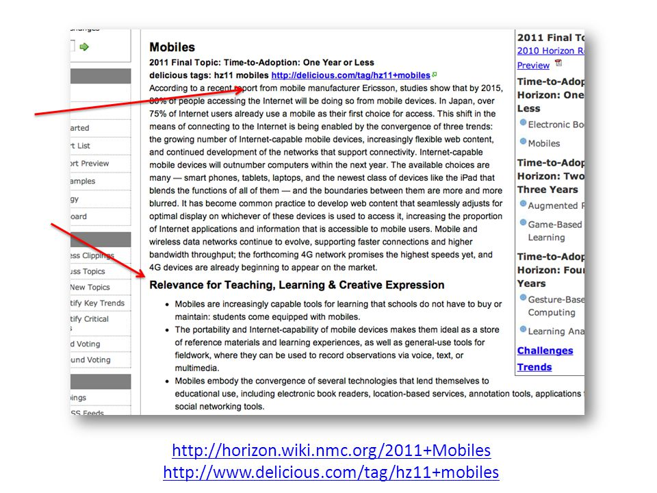 http://horizon. wiki. nmc. org/2011+Mobiles http://www. delicious