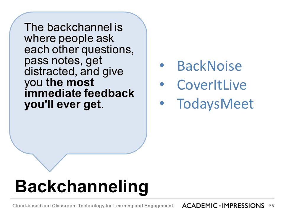 Backchanneling BackNoise CoverItLive TodaysMeet