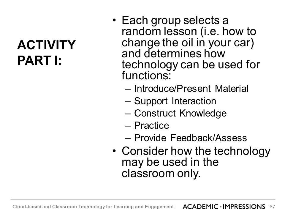 Each group selects a random lesson (i. e