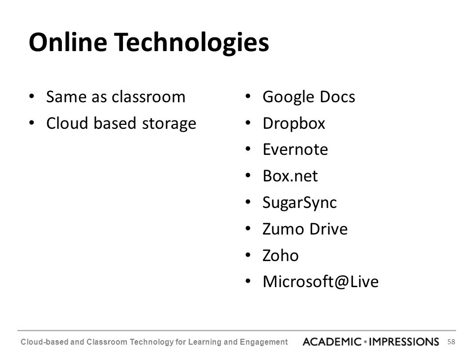 Online Technologies Same as classroom Cloud based storage Google Docs