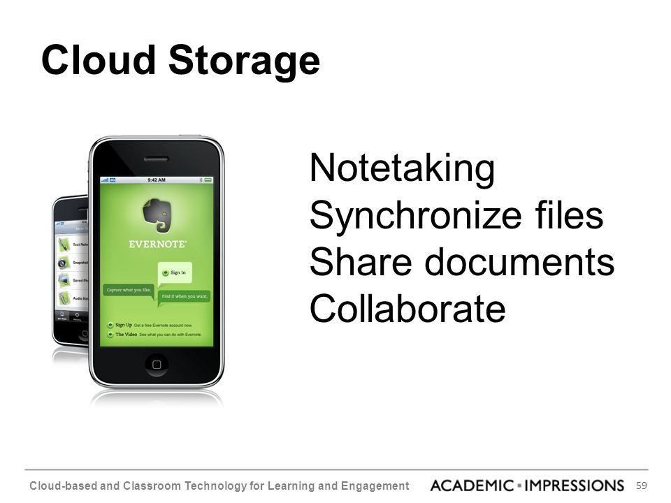 Cloud Storage Notetaking Synchronize files Share documents Collaborate
