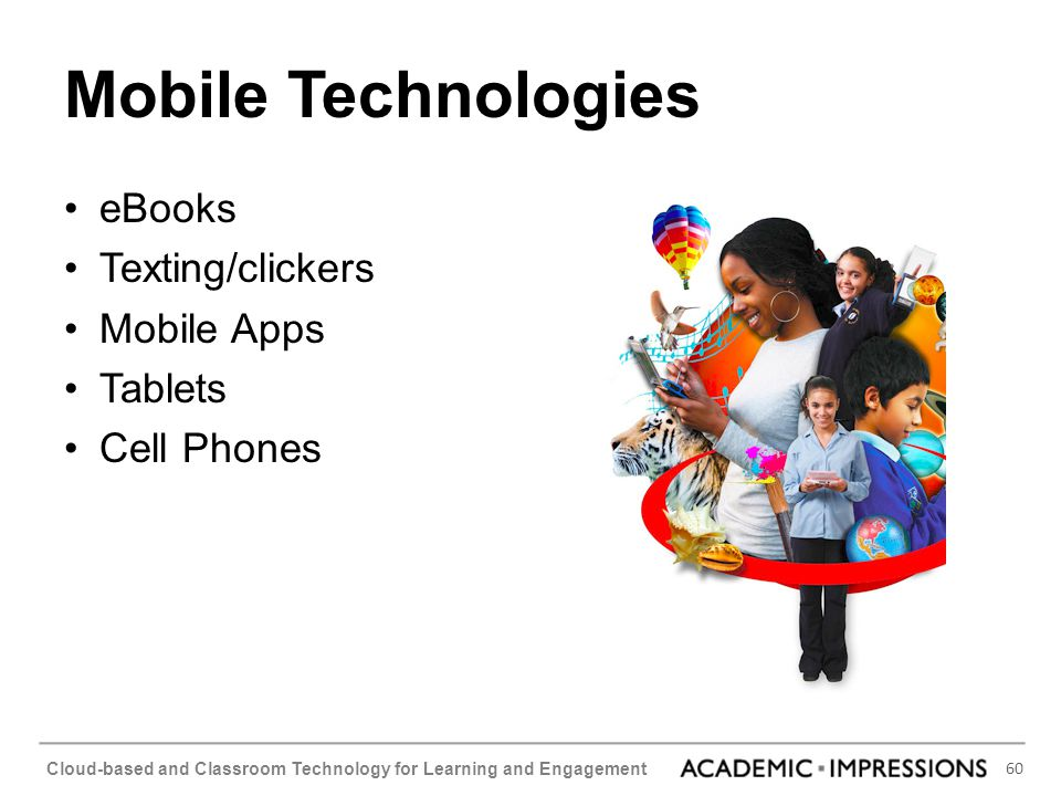 Mobile Technologies eBooks Texting/clickers Mobile Apps Tablets