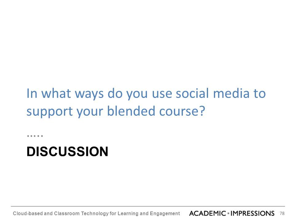 In what ways do you use social media to support your blended course